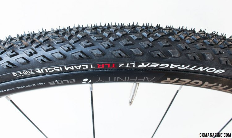 The new LT2 TLR tubeless gravel tire from Bontrager is listed as a gravel tire, but the tread is versatile and has been capable on grass and hard packed dirt - making it an option for some cyclocross conditions and courses. © Cyclocross Magazine