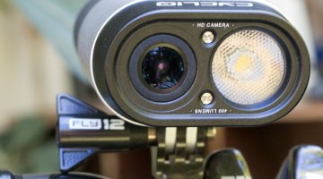 A powerful 400 Lumens light and 1080p HD camera in one unit works well, unless it's dusty or snowing. Cycliq Fly12 light/camera combo. © Cyclocross Magazine