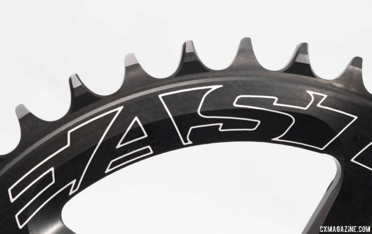 Easton's new EC90 SL carbon crankset features a 1x wide/narrow chainring with slightly hooked tooth profiles. © Cyclocross Magazine