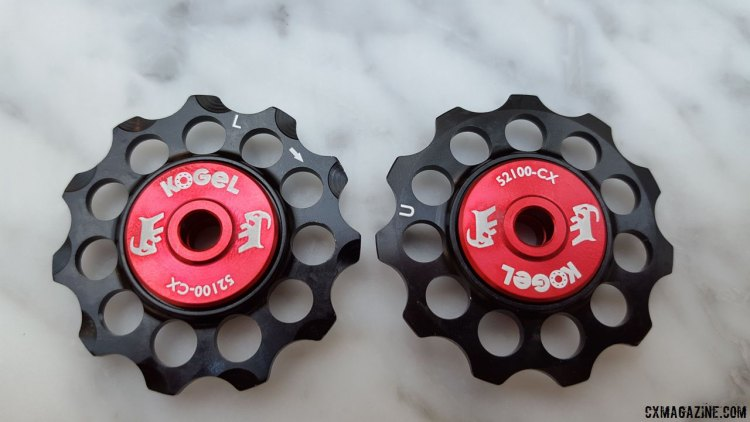 Gevenalle's new sealed Kogel bearing alloy pulleys for cyclocross features a directional tooth profile on the lower pulley. © Cyclocross Magazine