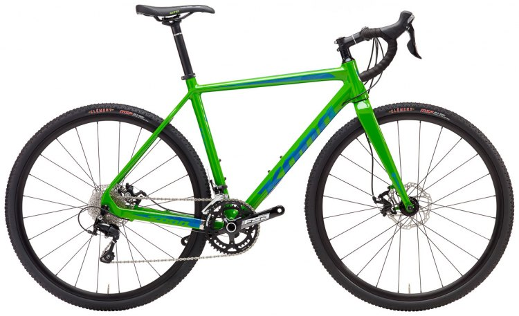 The $2399 Jake the Snake CR, with Shimano 105 components, is Kona's only carbon cx model, but features a higher-and-shorter rear geo than the alloy models.
