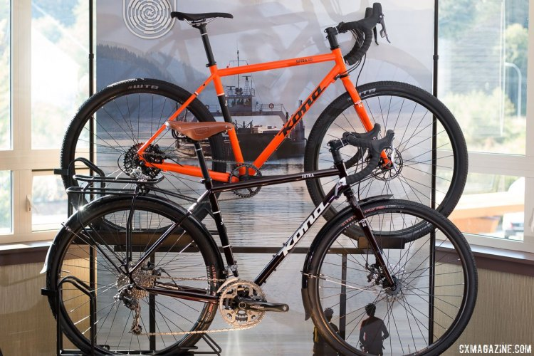 The steel $1399 2017 Kona Sutra (front) and $1999 Sutra LTD. © Cyclocross Magazine