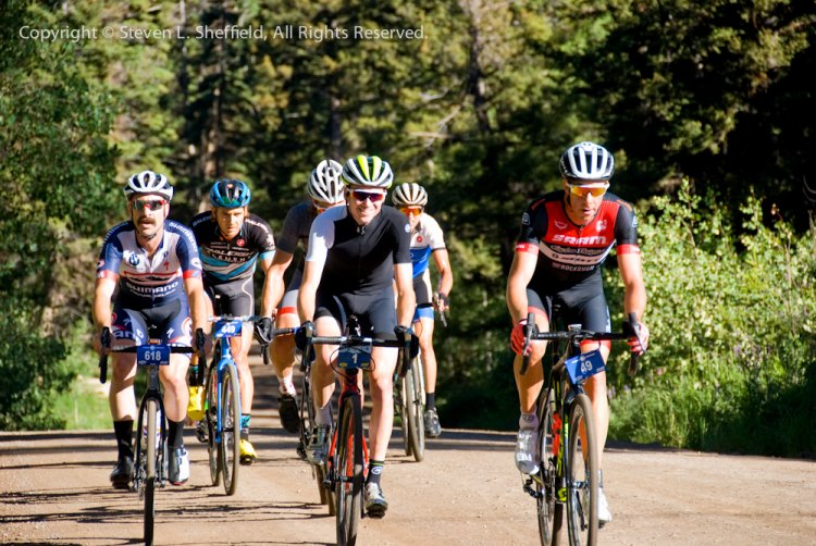 Lead group of six in the Men's Pro field nearing the top of the first climb. From L-R: Michael Burleigh, Jamey Driscoll, Dave Zabriskie (obscured behind Robbie Squire), Robbie Squire, Leroy Popowski, Todd Wells. 2016 Tushar Crusher. Photo courtesy Steven L. Sheffield