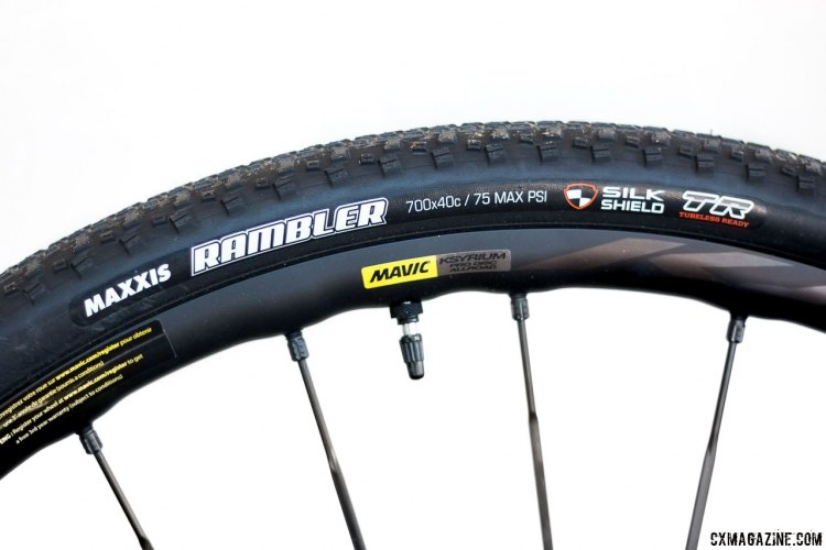 The Rambler 40c 120tpi EXO tire is a lightweight gravel champ that we'll try on bumpy cyclocross races, while the 60tpi SilkShield adds more protection for rocky gravel courses. Maxxis Rambler 40c gravel tire review. © Cyclocross Magazine