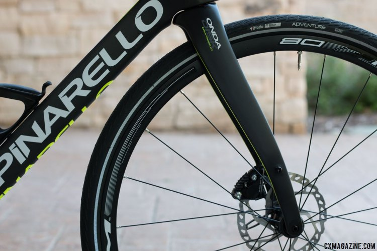 The Pinarello GAN GRS and GR Disk gravel bikes feature Pinarello's iconic reverse bend forks. Press Camp 2016. © Cyclocross Magazine