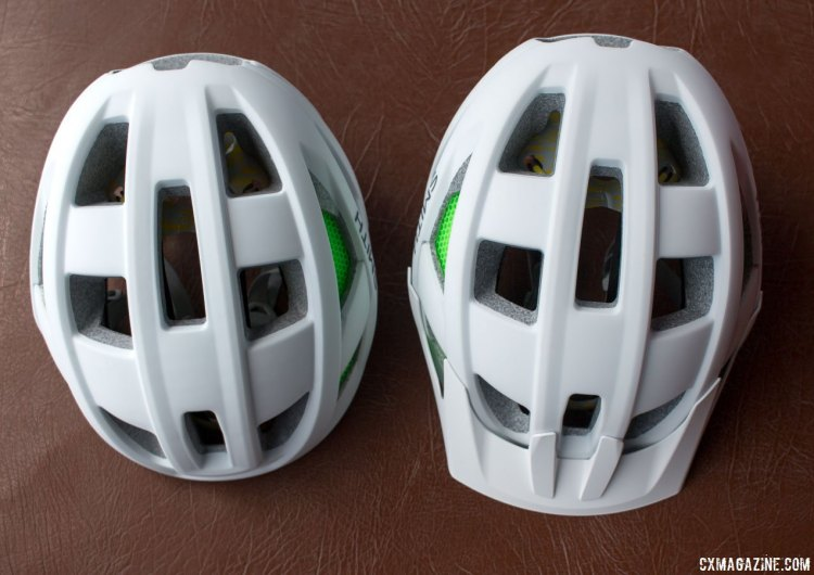 Smith's new Route (road, left) and Rover (mtb, right) helmets use different molds but look similar. Both are $150 for non-MIPS, and $180 for MIPS, available now. Press Camp 2016. © Cyclocross Magazine