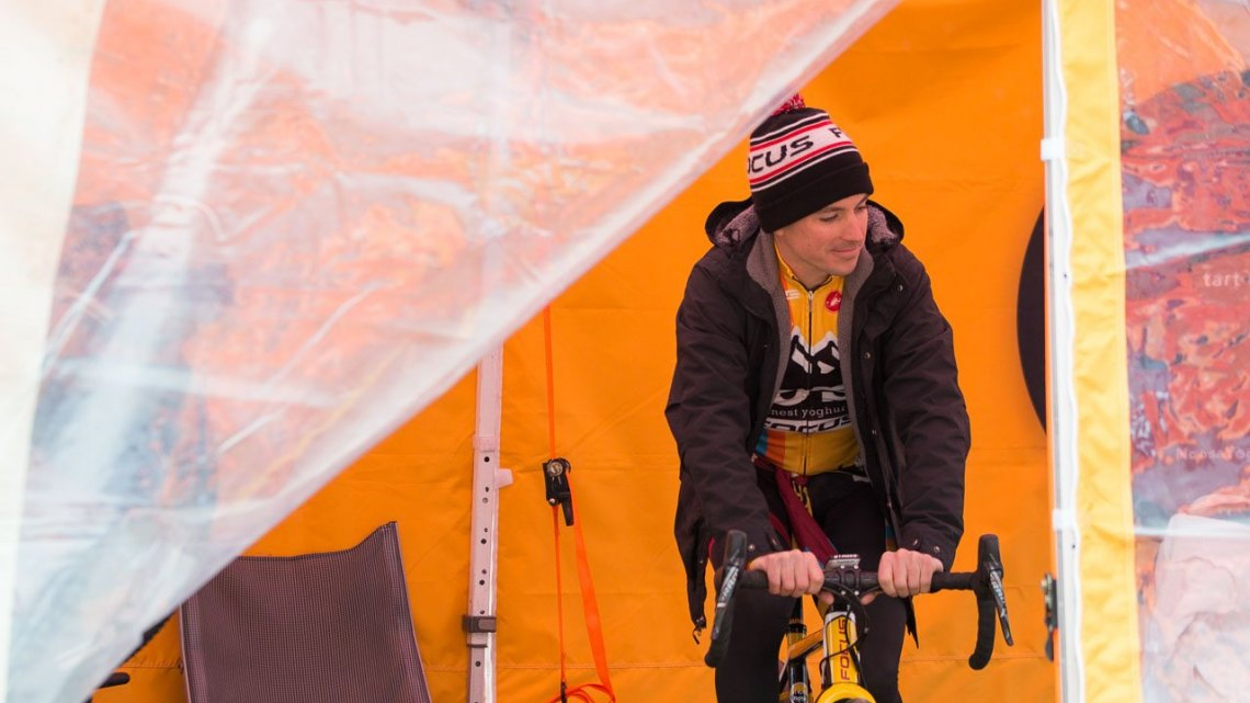 Allen Krughoff had days to inspect the course in Asheville, and kept dry and warm in his team tent before his race at 2016 Nationals. © A. Yee / Cyclocross Magazine