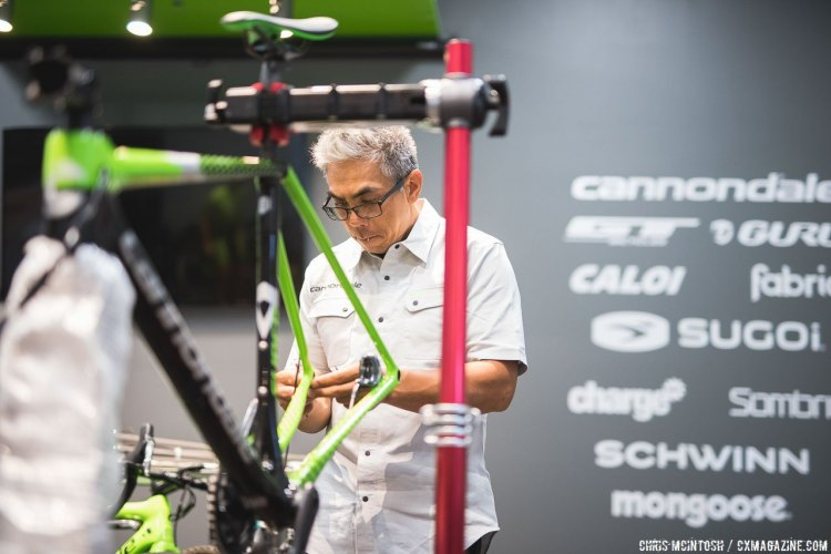 Cannondale team mechanic Joe Devera preps the team bikes before the camp. © Chris McIntosh / Cyclocross Magazine