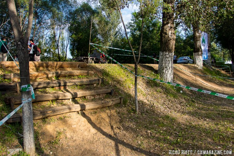 The first stair set in Yanqing is steep and tight @ R. Riott / Cyclocross Magazine