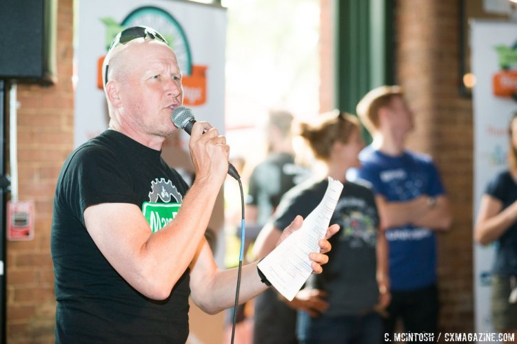 Richard Fries working the microphone, at his day job. © Chris McIntosh