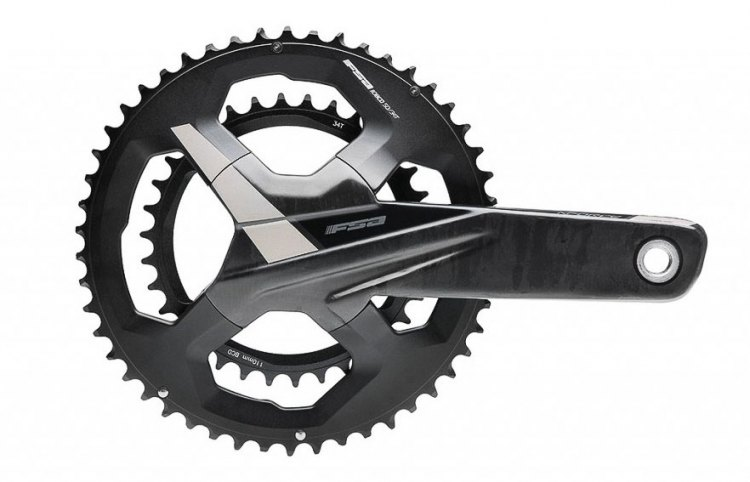 The 4-arm crank comes in compact and standard chainring combinations, with 50/34, 52/36 and 53/39. No 36/46 option yet, but 1x crank options are coming. Full Speed Ahead (FSA) K-Force WE electronic wireless component group and drivetrain.