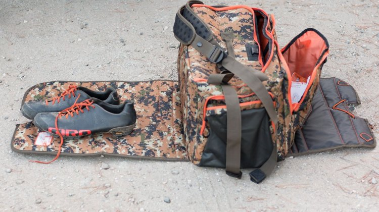 GYST Changing/Transition DB1-15 Duffel Bag features changing mats to keep the dirt, mud and snow away from your feet. There are actually two mats, and they can be used to create a double-layer waterproof floor. © Cyclocross Magazine