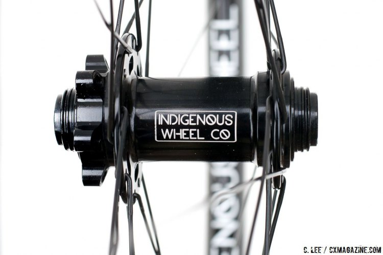 6-bolt disc brake rotors, sealed bearing hubs and 15mm thru axle on Indigenous Wheel Co.' s gravel / clydesdale tubeless disc brake wheelset. © Cyclocross Magazine