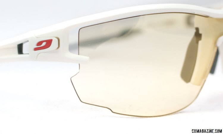 Julbo Aero vented sunglasses feature a full-length vent above the lens, a side vent, and an anti-fog treatment for great vision regardless of your speed or the current temperature or humidity level. © Cyclocross Magazine