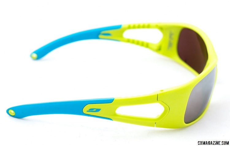 The $24 Julbo Trainer sunglasses are aimed at riders ages 3-6, and feature a mirrored Spectron lens and holes for an eyeglass strap. © Cyclocross Magazine