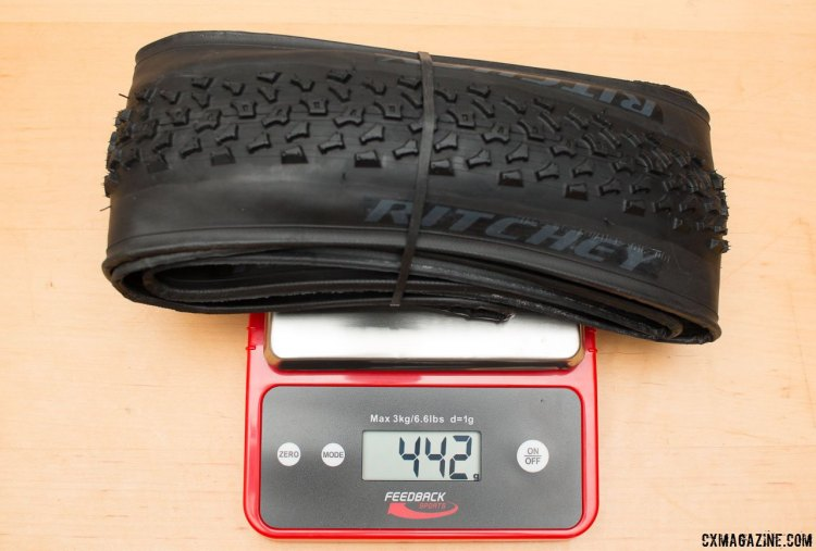 Ritchey Megabite 38c Cross Tire weighs 442g on our scale, just 4g more than the old 38c Mount Cross. © Cyclocross Magazine