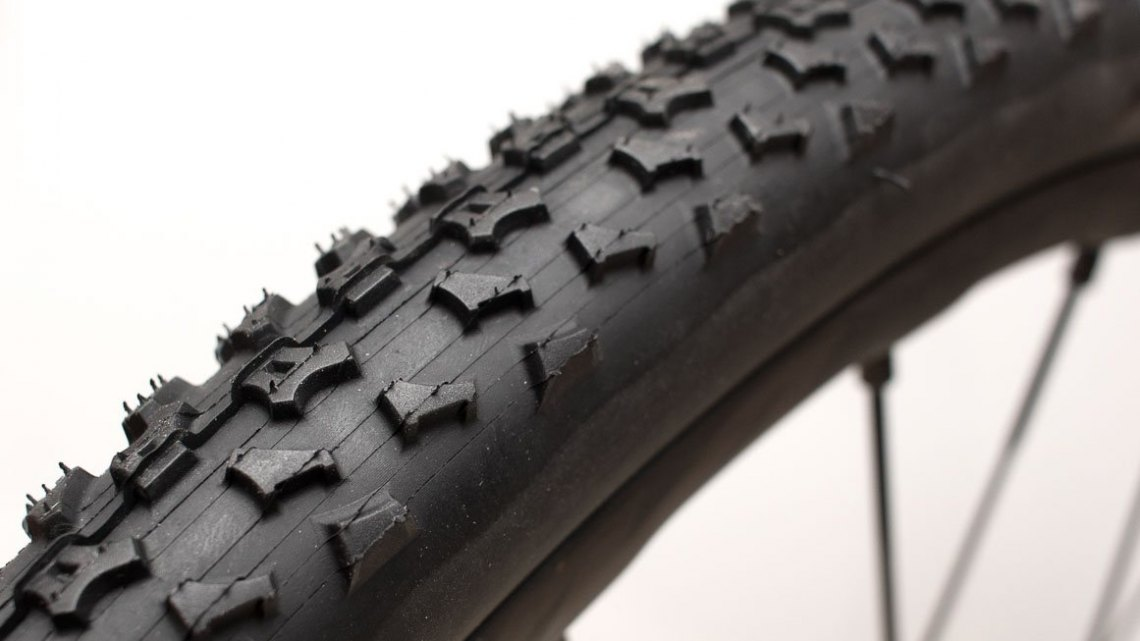 Ritchey Megabite 38mm Cross Tire features an aggressive tread with a prominent side knob that works well in everything but peanut butter mud. © Cyclocross Magazine