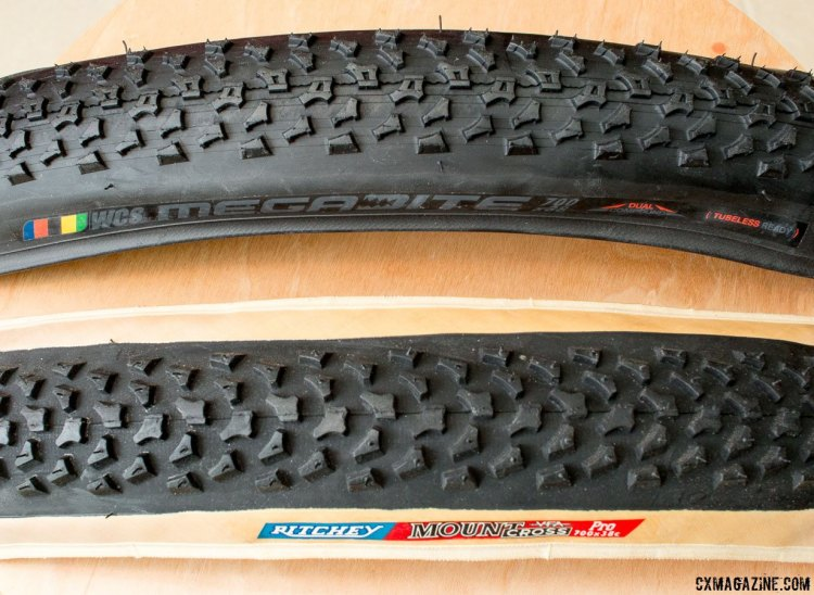 Take an old Ritchey Mount Cross 38c tire, add a tubeless casing and black sidewall, and you've got the new Ritchey Megabite 38c Cross Tire. © Cyclocross Magazine