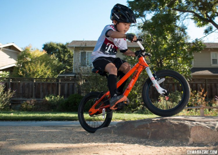 You gotta start somewhere, and the Stampede Bikes (TykesBykes) Sprinter 16 is an affordable rim-brake singlespeed to build mountain bike and cyclocross skills, and more importantly, discover the fun of riding. © Cyclocross Magazine