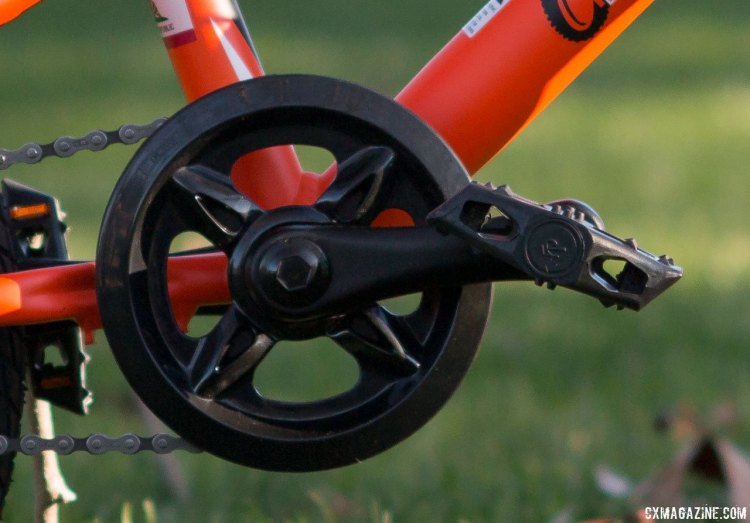 "Ultra-short 102mm cranks are more ergonomically appropriate than what you'd find on a 16"" wheel BMX bike, but they'll have your kid spinning very quickly. Stampede Bikes (TykesBykes) Sprinter 16 now lists 114mm cranks as OEM spec. © Cyclocross Magazine"