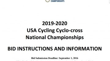 Bid instructions for 2019-2020 USA Cycling Cyclocross National Championships