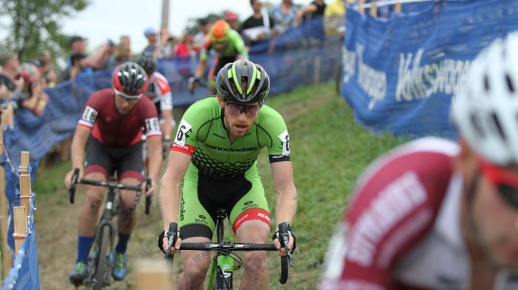Hyde leading Ortenblad as part of the lead group midway through the race. 2016 Jingle Cross UCI C1, Day 3, Elite Men. © D. Mable / Cyclocross Magazine