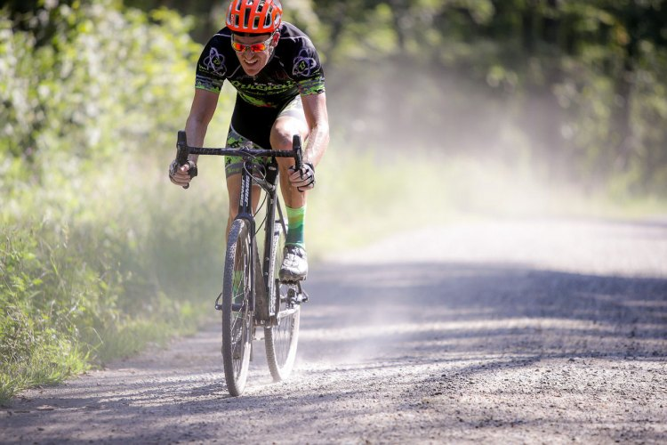 Jay Owen, who took multiple podiums, out on the course spraying watts. Photo: Bruce Buckley.