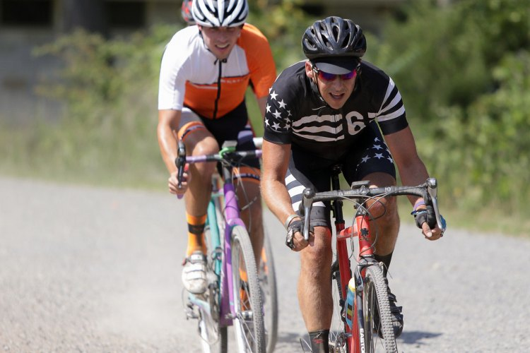 Chris Shue and Carter Schultz setting up for a sprint for a podium spot in the Cat 5 race. Photo: Bruce Buckley.
