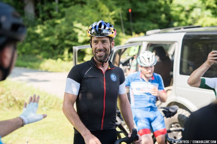 Tim Johnson answers questions about racing on technical terrain Vermont Overland is known for. © C. McIntosh / Cyclocross Magazine