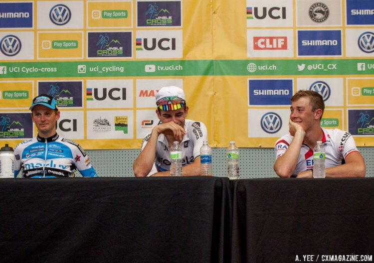 The three top racers, all Belgians, share a funny moment at the press conference. 2016 Jingle Cross Day 1, Elite Men. © A. Yee / Cyclocross Magazine
