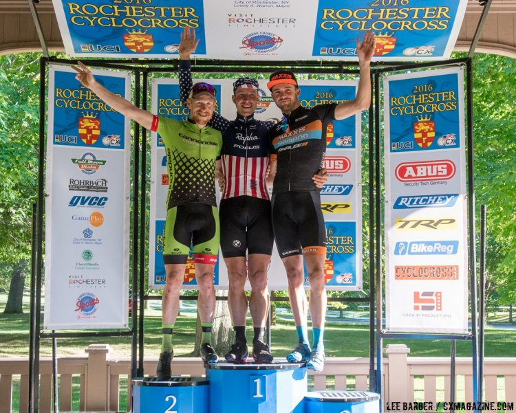 Hyde, Powers and Summerhill took the podium on Day 2. Rochester Cyclocross 2016, Day 2, Elite Men. © Lee Barber