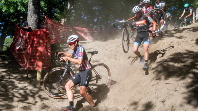 It was a dry, dusty course for the second day in a row. We can't help but wonder how it'd be with some rain. Rochester Cyclocross 2016, Day 2, Elite Men. © Lee Barber