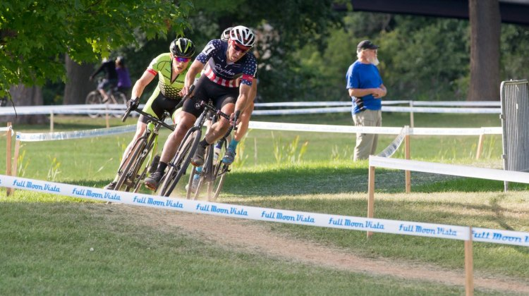 Powers said he was racing Sunday's race for training, purposely letting gaps open and then closing them down. Rochester Cyclocross 2016, Day 2, Elite Men. © Lee Barber