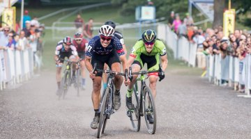 Jeremy Powers outkicks Stephen Hyde for a rare C2 race win after skipping most C2s the last two years. Rochester Cyclocross 2016, Day 2, Elite Men. © Lee Barber