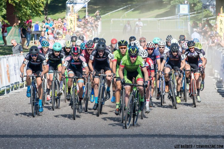 Stephen Hyde leads teammate Curtis White and the big men's field at Rochester Cyclocross 2016, Day 2, Elite Men. © Lee Barber