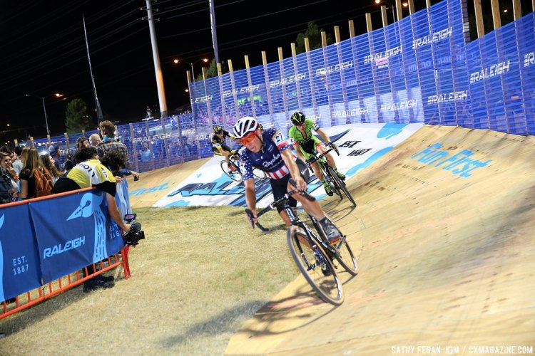 Powers eventually caught and passed Hyde to finish top American. Cross Vegas 2016 World Cup. © Cathy Fegan-Kim / Cyclocross Magazine