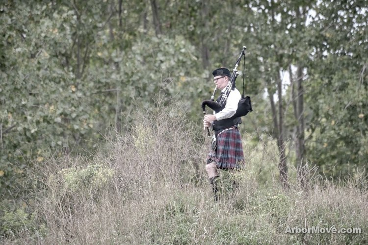 "Alma, Michigan is ""Scotland, USA"" and we're home of the Alma College ""Scots."" As such, we've always had a bagpiper from the college play a few bars for racers. Here, Luke Ashton, a senior, plays in his final Alma Grand Prix of Cyclocross. photo: Middy Matthews"