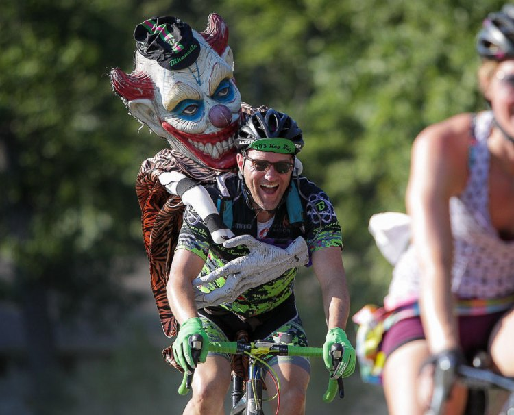 """Race director, Phil Troutman and Funzie the clown, in the """"Anything Goes"""" race. Photo: Bruce Buckley."""