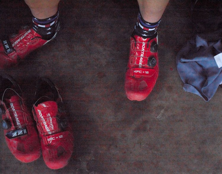 Compton's new red Bontrager shoes.