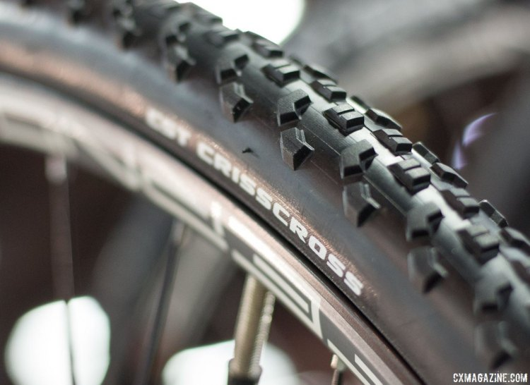 The CST Criss Cross 32c tire is a value-oriented wire bead cyclocross tire with a versatile, all-conditions tread. CST cyclocross and gravel tires. Interbike 2016 © Cyclocross Magazine