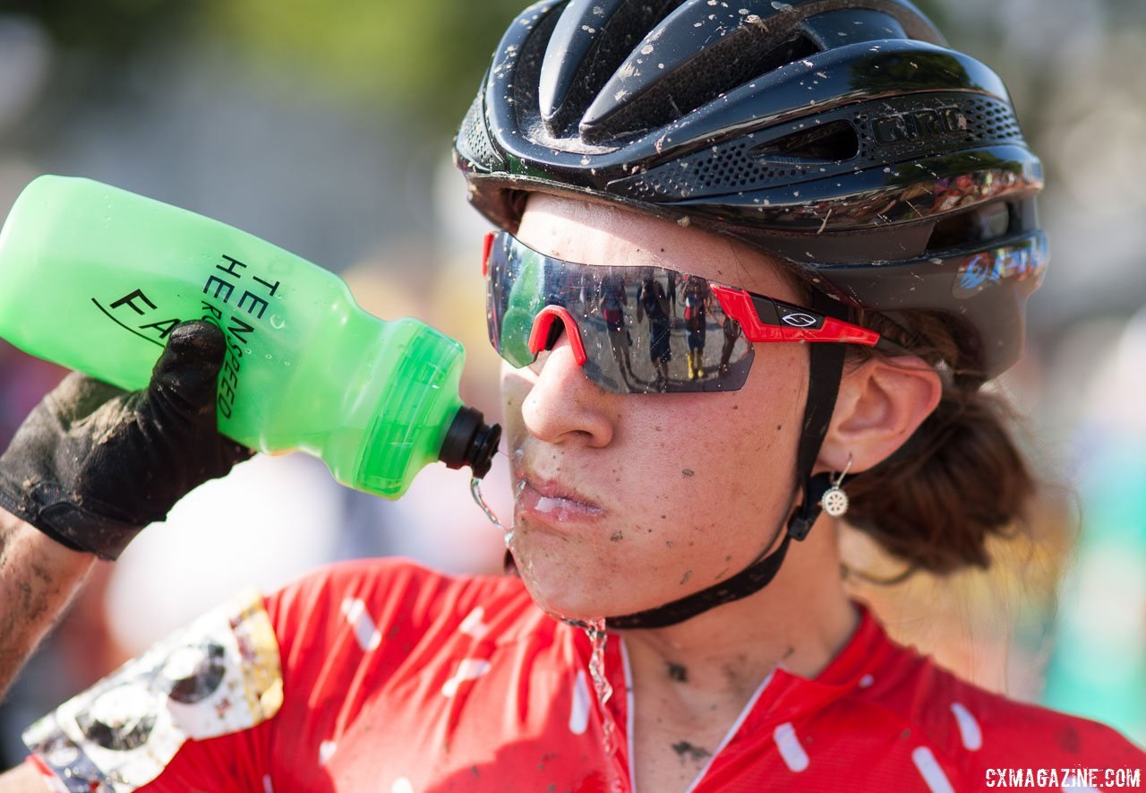 Sofia Gomez Villafane doing her best to hydrate and cool down after the 2016 Jingle Cross World Cup. © A. Yee / Cyclocross Magazine
