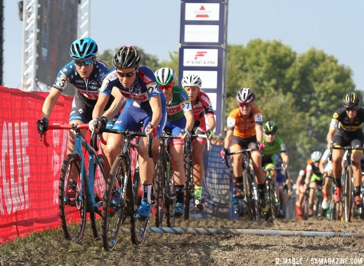 Compton following Cant on lap one. 2016 Jingle Cross World Cup, Elite Women. © D. Mable / Cyclocross Magazine