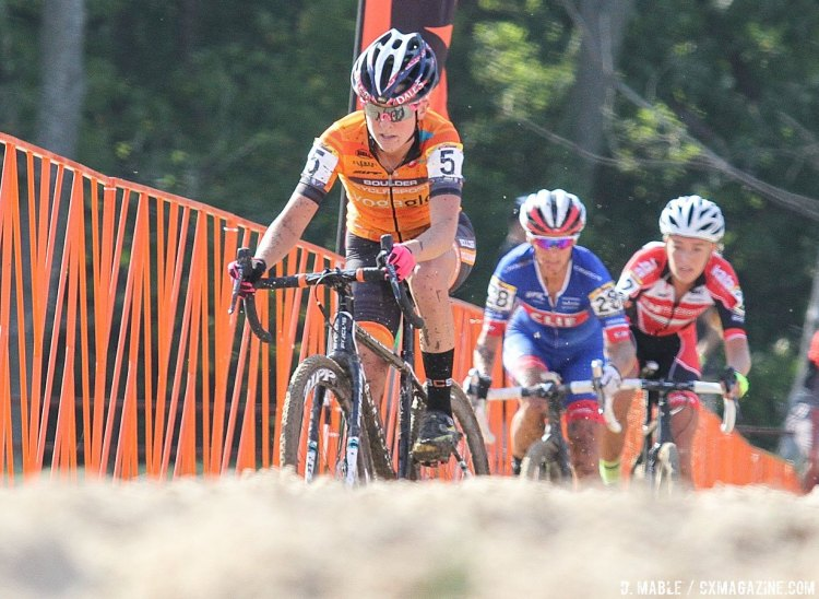 Amanda Miller leads the 2016 Jingle Cross World Cup, Elite Women. © D. Mable / Cyclocross Magazine