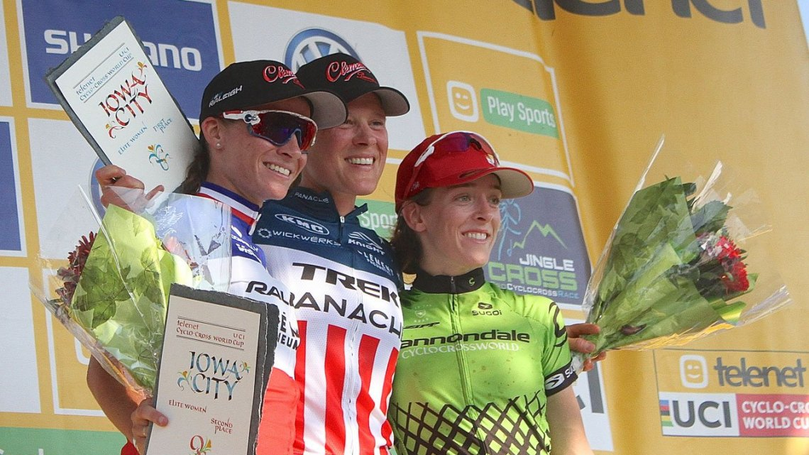 2016 Jingle Cross World Cup, Elite Women's podium: L to R: Caroline Mani, Katie Compton, Kaitie Antonneau. © D. Mable / Cyclocross Magazine