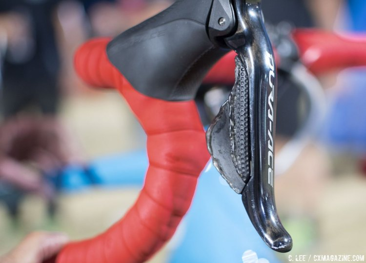 Bondic is used on her 9070 levers for grip. Katie Compton's Trek Boone at CrossVegas 2016 and JingleCross. © C. Lee / Cyclocross Magazine