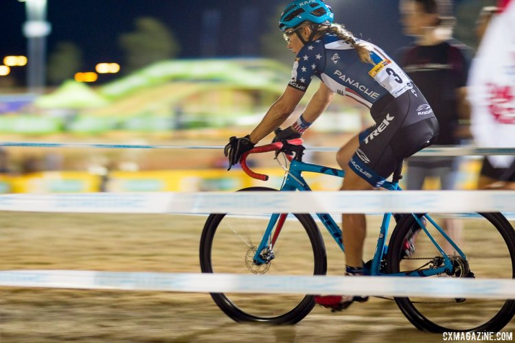 Katie Compton on her way to third at CrossVegas 2016. © A. Yee / Cyclocross Magazine