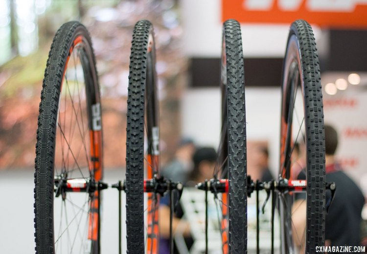 Maxxis cyclocross tires. Three of the four of these are new - with the Speed Terrane, All Terrane, Mud Wrestler (not new) and the new Raze tubular. Interbike 2016 © Cyclocross Magazine