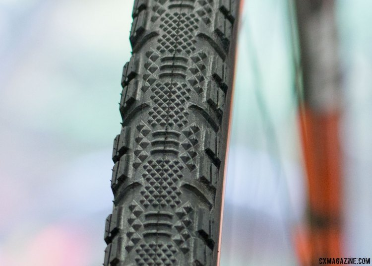 The new 33c tubeless Speed Terrane with a carbon bead. Maxxis cyclocross and gravel tires. Interbike 2016 © Cyclocross Magazine