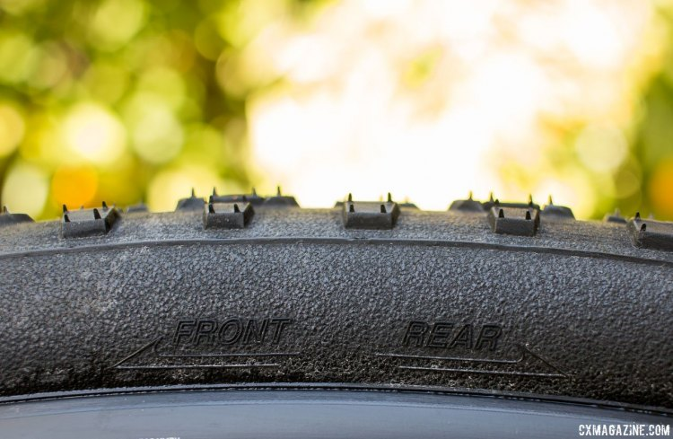 Panaracer Regacross 35c tubeless cyclocross tire is directional, although the tread is nearly symmetrical, with the exception of the ramps on the knobs and one of the center knobs. © Cyclocross Magazine
