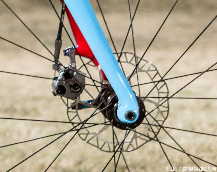 Shimano BR-CX77 mechanical disc brakes. Katie Compton's Trek Boone at CrossVegas 2016 and JingleCross. © C. Lee / Cyclocross Magazine